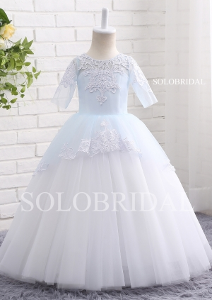Ivory sleeves ball gown lace and tulle flower girl dress A18804
