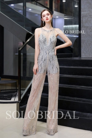Sleeveless trousers beaded evening dress Q734451
