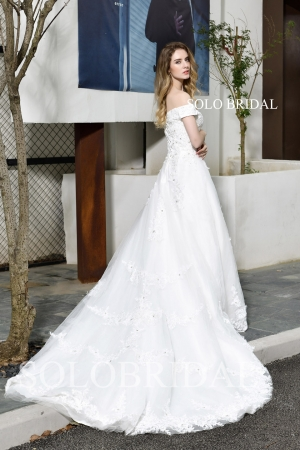 White off shoulder cathedral train wedding dress P423881