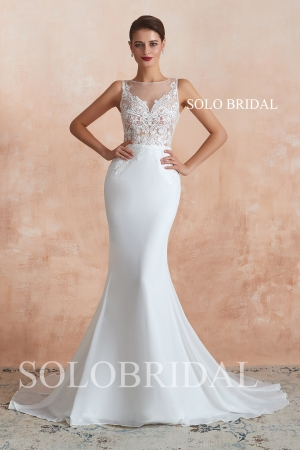 Ivory chiffon fit and flare wedding dress N363731